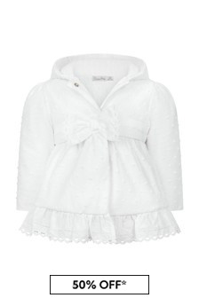 Patachou Baby Girls White Cotton Coat