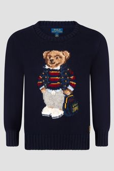 Ralph Lauren Kids Boys Navy Cotton Crew Neck Sweater