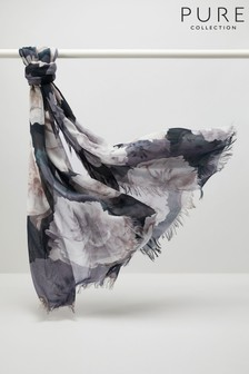 Pure Collection Black Ultra Soft Printed Scarf