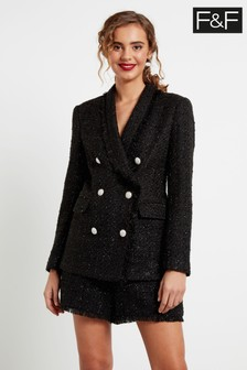 F&F Black Bouclé Jacket