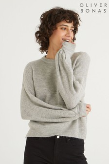 Oliver Bonas Crew Neck Grey Knitted Jumper