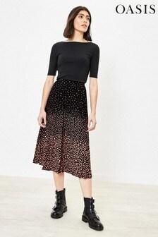 Oasis Black Ombre Animal Pleat Skirt