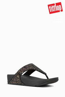 FitFlop™ Black Lulu Glitter Toe Thong Sandals