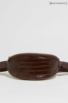 Warehouse Brown Faux Crocodile Bum Bag