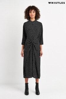 Whistles Black/White Abstract Spot Selma Tie Dress