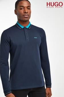 HUGO Donol Long Sleeve Logo Poloshirt