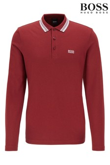 BOSS Pink Plisy Long Sleeve Polo