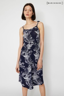 Warehouse Blue Fruit Print Midi Cami Dress