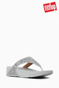 FitFlop™ Silver Lulu Glitter Toe Thong Sandals