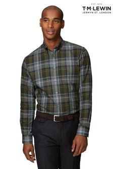 T.M. Lewin Green/Grey Large Tartan Check Slim Fit Shirt