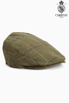 Christys London Khaki Check Flat Cap