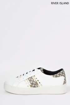 River Island White Rainbow Monogram Lace-Up Trainers