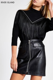 River Island Black PU Croc Biker Skirt