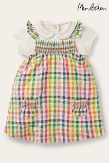 Boden Multi Smocked Gingham Pinafore Set