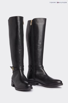 Tommy Hilfiger Black Hardware Leather Boots