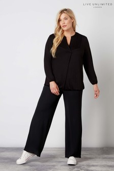 Live Unlimited Black French Crepe Wide Leg Trousers