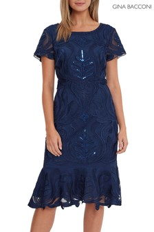 Gina Bacconi Blue Liori Embroidered Dress