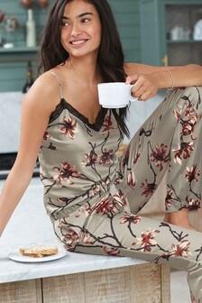 Floral Cami Satin Pyjamas