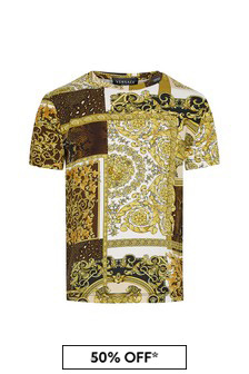 Versace Boys Gold Cotton T-Shirt