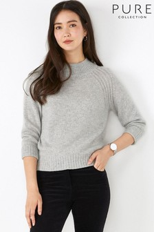 Pure Collection Grey Cashmere Lofty Turtle Neck Sweater