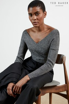 Ted Baker Black Kyyraa Off The Shoulder Long Sleeve Knitted Top