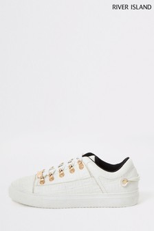 River Island White Tycoon Monogram Lace-Up Sport Trainers
