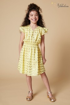 Velveteen Yellow Julieta Frill Dress