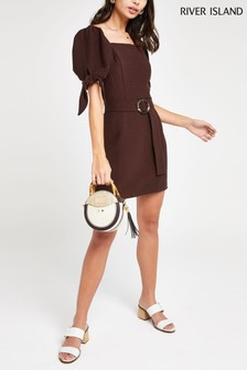 River Island Brown Horn Buckle Waisted Square Neck Dress