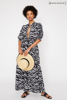 Warehouse Animal Zebra Maxi Beach Dress