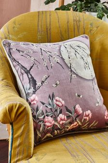 The Chateau by Angel Strawbridge Moonlight Floral Piped Cushion