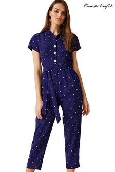 Phase Eight Blue Carmel Spot Jumpsuit
