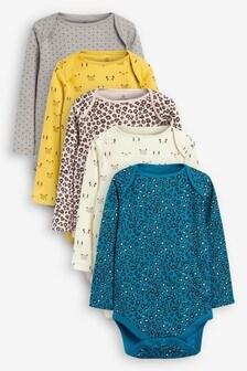 5 Pack Animal Print Long Sleeve Bodysuits (0mths-2yrs)