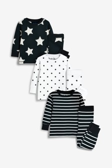 3 Pack Star/Stripe Snuggle Pyjamas (9mths-8yrs)