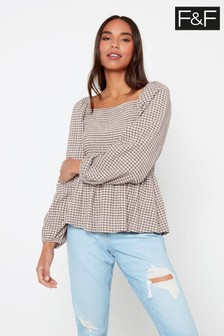 F&F Multi Check Square Neck Gypsy T-Shirt