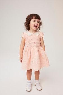 فستان مطرز بتفصيل مجمع (3 شهور -7 سنوات)