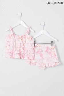 River Island Pink Light Cami Short Set
