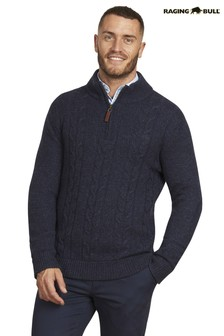 Raging Bull Blue Cable Knit Quarter Zip Sweater