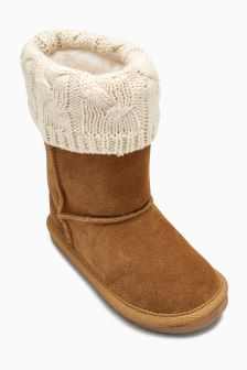 Pull On Knitted Cuff Boots (Younger)