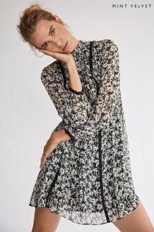 Mint Velvet White Bonnie High Neck Mini Dress