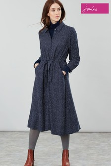 Joules Blue Briony Long Sleeve Button Front Shirt Dress