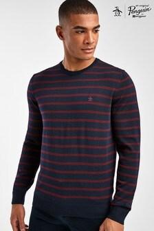 Sweter Original Penguin® 12GG z wełny merynosów w paski