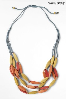 White Stuff Yellow Layered Wood Necklace