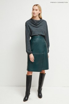 French Connection Green Abri Leather Knee Length Skirt