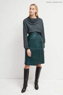 Zelená kožená sukňa po kolená French Connection Abri