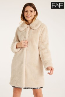 F&F Neutral Faux Fur Champagne Coat
