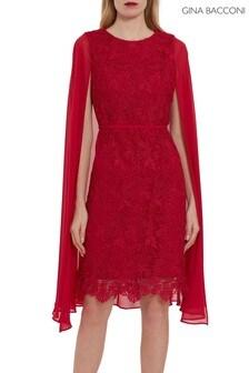 Gina Bacconi Red Sansa Lace Dress With Chiffon Cape