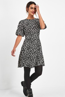 Printed Puff Sleeve Mini Dress