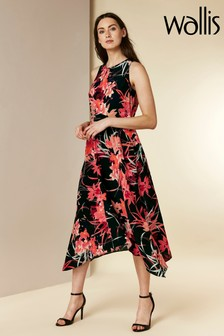 Wallis Vivid Oriental Hanky Hem Dress