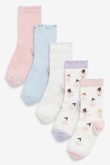 5 Pack Ballerina Ankle Socks