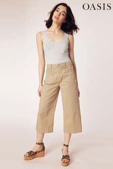 Oasis Sand Chino Crop Wide Leg Trouser